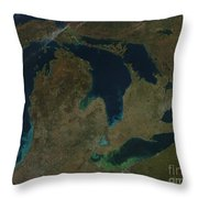 Satellite View Of The Great Lakes, Usa Throw Pillow by Stocktrek Images