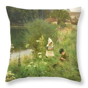Saturday Afternoon Throw Pillow by Gunning King