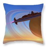 Saturn's Moon Throw Pillow by Corey Ford