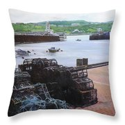 Scarborough Harbour. Throw Pillow by Harry Robertson