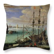 Scene Of A Sea Port Throw Pillow by Paul Bril