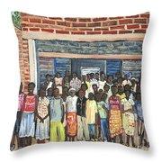 School Class Burkina Faso Series Throw Pillow by Reb Frost