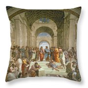 School Of Athens From The Stanza Della Segnatura Throw Pillow by Raphael