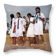 School Trip To Beach Throw Pillow by Rafa Rivas