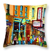 Schwartz's Hebrew Deli On St. Laurent In Montreal Throw Pillow by Carole Spandau