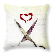 Scissors And Heart Throw Pillow by Joana Kruse