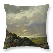 Scottish Landscape Throw Pillow by Gustave Dore