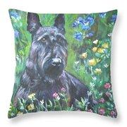 Scottish Terrier In The Garden Throw Pillow by Lee Ann Shepard