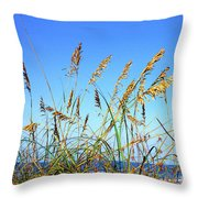 Sea Oats And Sea Throw Pillow by Thomas R Fletcher