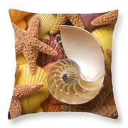 Sea Shells And Starfish Throw Pillow by Garry Gay