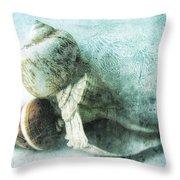 Sea Shells IIi Teal Blue Throw Pillow by Ann Powell