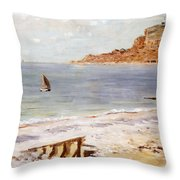 Seascape At Sainte Adresse  Throw Pillow by Claude Monet