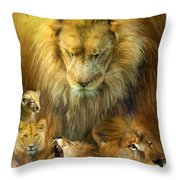 Seasons Of The Lion Throw Pillow by Carol Cavalaris