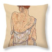 Seated Woman In Underwear Throw Pillow by Egon Schiele