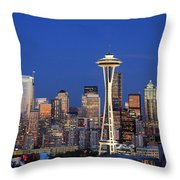 Seattle at Dusk Throw Pillow by Adam Romanowicz