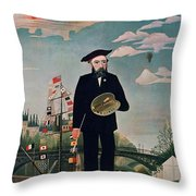 Self Portrait From Lile Saint Louis Throw Pillow by Henri Rousseau
