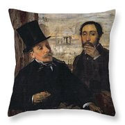 Self Portrait With Evariste De Valernes Throw Pillow by Edgar Degas
