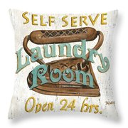Self Serve Laundry Throw Pillow by Debbie DeWitt