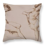 Sepia Drawing Of Nude Woman Throw Pillow by William Mulready