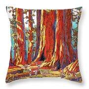 Sequoia Deer Throw Pillow by Nadi Spencer