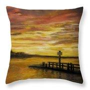 Sesuit Harbor at Sunset Throw Pillow by Jack Skinner