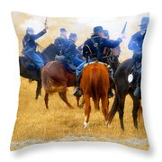 Seventh Cavalry In Action Throw Pillow by David Lee Thompson