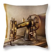 Sewing - A Black And White Sewing Machine  Throw Pillow by Mike Savad