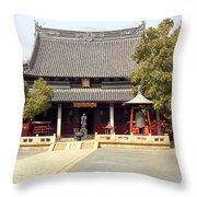 Shanghai Confucius Temple - Wen Miao - Main Temple Building Throw Pillow by Christine Till