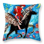 She Flies With The West Wind Throw Pillow by Sushila Burgess