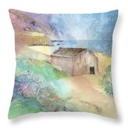 Shed By A Lake In Ireland Throw Pillow by Arline Wagner
