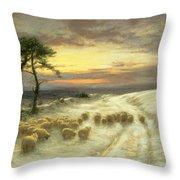 Sheep In The Snow Throw Pillow by Joseph Farquharson