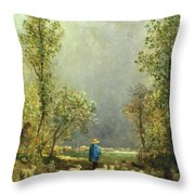 Sheep Watching A Storm Throw Pillow by Constant-Emile Troyon
