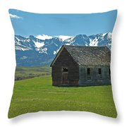 Shields Valley Abandoned Farm Ranch House Throw Pillow by Bruce Gourley