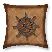 Ship's Wheel Throw Pillow by Tom Mc Nemar