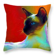 Siamese Cat 10 Painting Throw Pillow by Svetlana Novikova