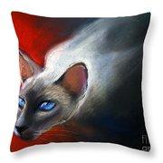 Siamese Cat 7 Painting Throw Pillow by Svetlana Novikova