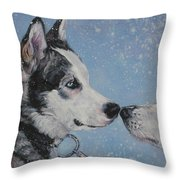 Siberian Huskies In Snow Throw Pillow by Lee Ann Shepard