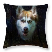 Siberian Husky Throw Pillow by Brian Roscorla