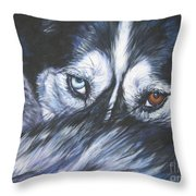 Siberian Husky Eyes Throw Pillow by Lee Ann Shepard