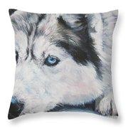 Siberian Husky Up Close Throw Pillow by Lee Ann Shepard