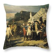 Siege Of Yorktown Throw Pillow by Louis Charles Auguste  Couder