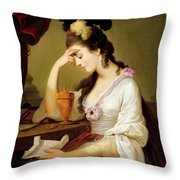 Sigismonda And The Heart Of Guiscardo Throw Pillow by Moses Haughton