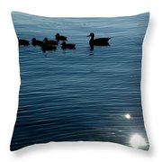 Silhouetted Duck Family Swims Throw Pillow by Todd Gipstein