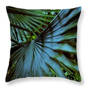 Silver Palm Leaf Throw Pillow by Susanne Van Hulst