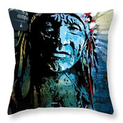 Sioux Chief Throw Pillow by Paul Sachtleben