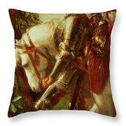 Sir Galahad Throw Pillow by George Frederic Watts
