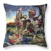 Sir Philip Sidney At The Battle Of Zutphen Throw Pillow by Ron Embleton
