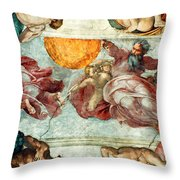 Sistine Chapel Ceiling Creation Of The Sun And Moon Throw Pillow by Michelangelo