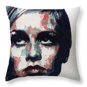 Sixties Sixties Sixties Twiggy Throw Pillow by Paul Lovering