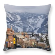 Ski Resort And Downtown Steamboat Throw Pillow by Rich Reid